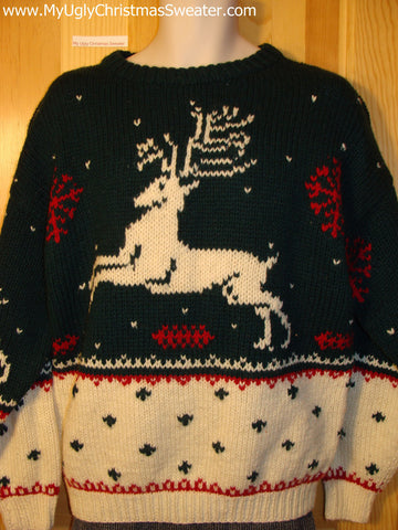 Ugly Christmas Sweater Party Vintage Reindeer Sweater (v19)