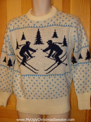 Ugly Christmas Sweater Party Vintage Tacky Sweater Dueling Skiers on Front and Back (v1)