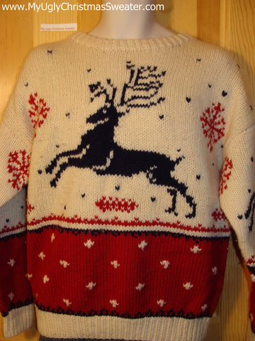 Ugly Christmas Sweater Party Vintage Reindeer Sweater (v20)