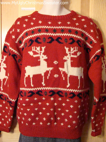 Ugly Christmas Sweater Party Vintage Reindeer Sweater (v22)