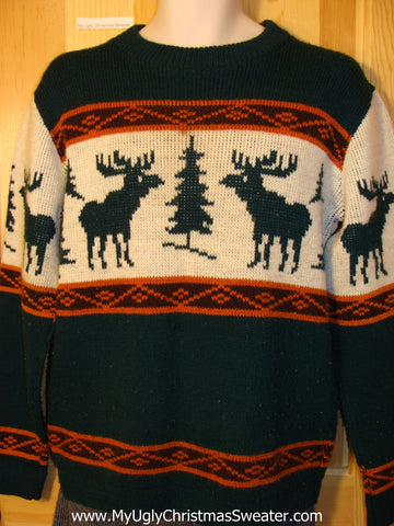 Ugly Christmas Sweater Party Vintage Reindeer Sweater (v23)