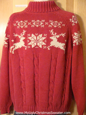 Ugly Christmas Sweater Party Vintage-Pattern Reindeer Sweater (v24)