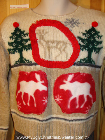 Ugly Christmas Sweater Party Vintage Tacky Sweater with Reindeer (v25)
