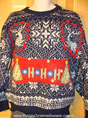 Ugly Christmas Sweater Party Vintage Reindeer Sweater with Crafty Pom Pom Trims (v26)