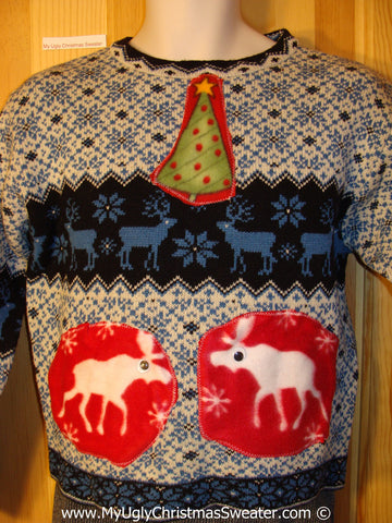 Ugly Christmas Sweater Party Vintage Tacky Reindeer Sweater (v27)