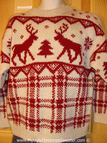 Ugly Christmas Sweater Party Vintage Tacky Reindeer Sweater (v28)