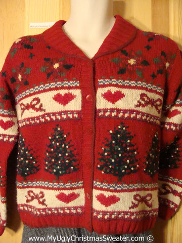 Ugly Christmas Sweater Party  Tacky Festive Cardigan Sweater with Trees, Hearts, Bows, and Poinsettias (v29)