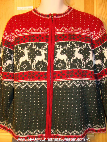 Ugly Christmas Sweater Party Vintage Reindeer Sweater with Leaping Reindeer on Front and Back (v30)