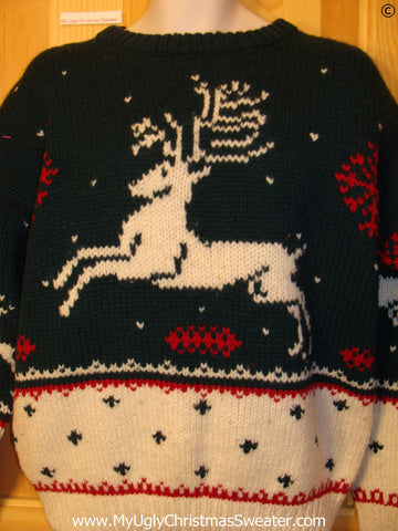 Ugly Christmas Sweater Party Vintage Reindeer Sweater with Reindeer on Front, Back, and Sleeves (v31)