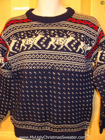 Ugly Christmas Sweater Party Vintage Reindeer Sweater (v33)