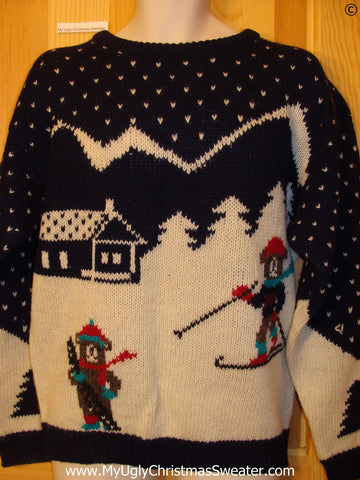 Ugly Christmas Sweater Party Vintage Skiing Bears Sweater 80s (v34)