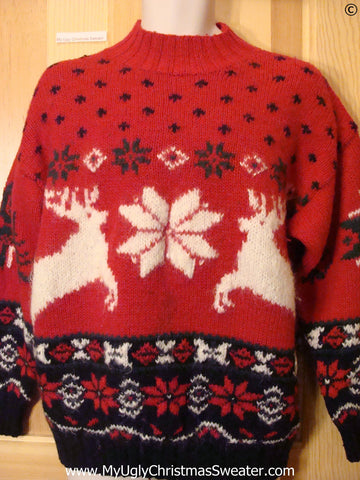 Ugly Christmas Sweater Party Vintage Reindeer Sweater (v35)