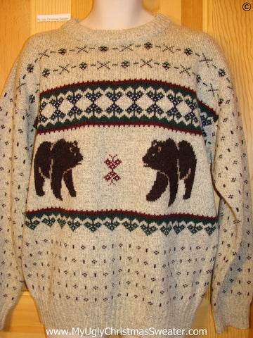 Ugly Christmas Sweater Party Vintage Nordic Sweater with Bears by Woolrich (v36)