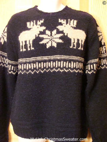 Ugly Christmas Sweater Party Vintage Reindeer Moose Sweater (v37)