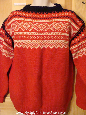 Ugly Christmas Sweater Party Vintage Nordic Sweater SAGA KNIT (Norway)  (v38)