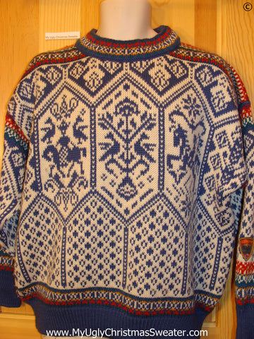 Ugly Christmas Sweater Party Vintage Dale of Norway Nordic Sweater (v40)