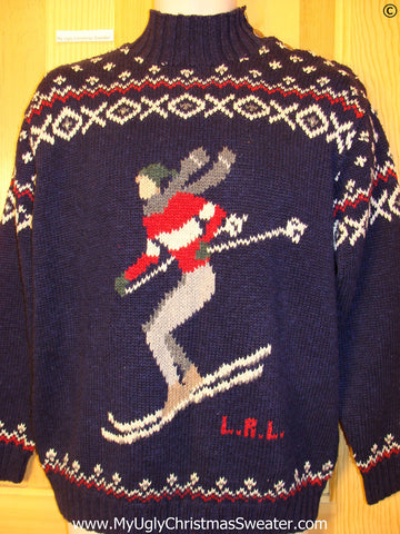 Ugly Christmas Sweater Party Vintage Ralph Lauren Ski Sweater (v41)