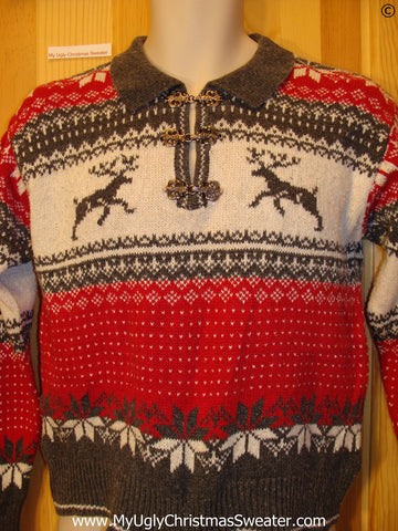 Ugly Christmas Sweater Party Vintage Reindeer Sweater (v42)