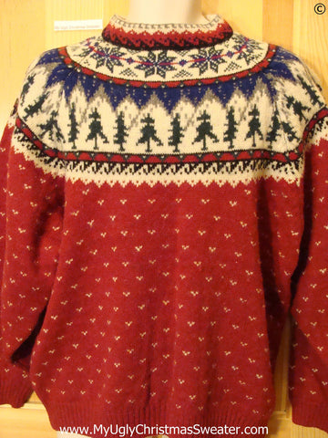 Ugly Christmas Sweater Party Vintage Festive Nordic Sweater by Eddie Bauer (v43)