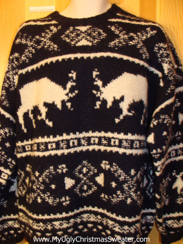 Mens Ugly Christmas Sweater Party Vintage Tacky Sweater Reindeer