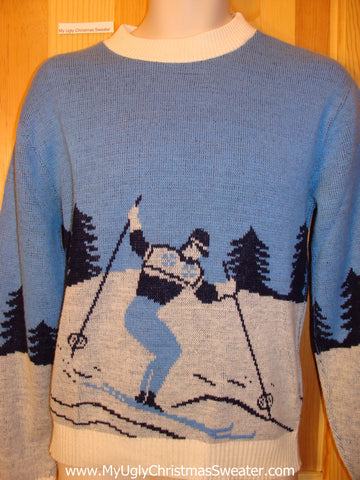Ugly Christmas Sweater Party Vintage Tacky Sweater Ski Skier