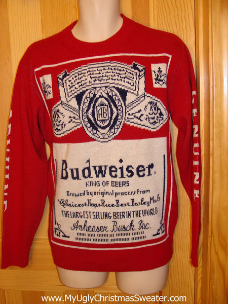 red ugly christmas sweater party vintage budweiser sweater with 2sided bud label design v5