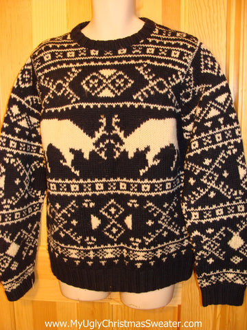 Ugly Christmas Sweater Party Vintage Ralph Lauren Reindeer Sweater with Pattern on Front and Back (v8)