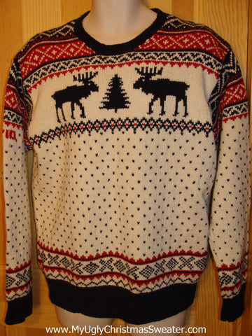 Ugly Christmas Sweater Party Vintage Ralph Lauren Reindeer Sweater (like John Mayer wore on Ellen) (v9)