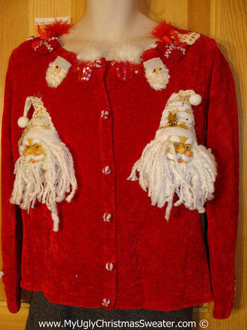 Ugly Christmas Sweater Party Holy Grail of Ugly Sweater with Bling and  3D Santas (x10)