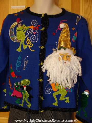 Ugly Christmas Sweater Party Holy Grail of Ugly Sweater with 3D Santa and Conga Line Frogs Celebrating Christmas or New Years (x11)