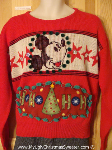 Ugly Christmas Sweater Party 80s Holy Grail of Ugly Sweater with Mickey Mouse  (x12)