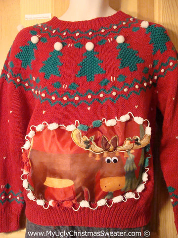 Ugly Christmas Sweater Party Holy Grail of Ugly Nordic Sweater with 3D  Reindeer (x1)