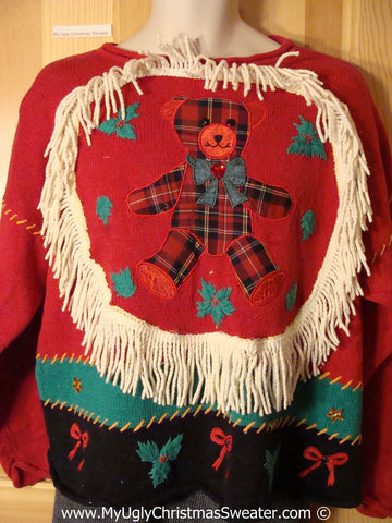 Ugly Christmas Sweater Party Holy Grail of Ugly Sweater with Crafty Plaid Bear and Dangling Fringe  (x4)