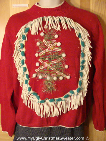 Ugly Christmas Sweater Party Holy Grail of Ugly Sweater with Pom Pom Accents on Tree, and Dangling Fringe (x6)