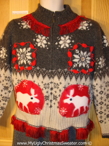 Ugly Christmas Sweater Party Holy Grail of Ugly Nordic Sweater with Reindeer and Pom Pom Trims with Fringe (x7)
