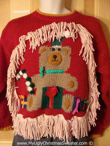 Ugly Christmas Sweater Party 80s Holy Grail of Ugly Sweater with Giant Bear and 3D Pom Poms and Dangling Fringe  (x8)