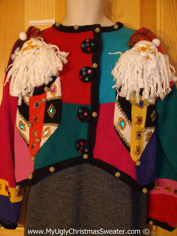 Ugly Christmas Sweater Party 80s Holy Grail of Ugly Sweater with 3D Santas and Bling Gem Accents (x9)