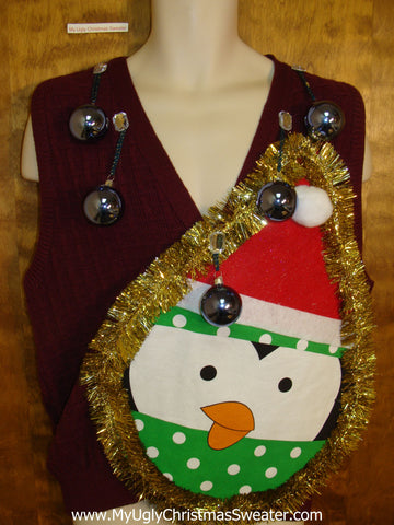 Mens Funny 3D Ugly Xmas Penguin Sweater Vest