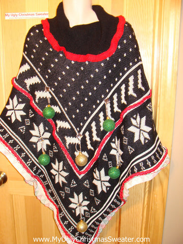 Ugly Christmas Sweater Party Holy Grail of Ugly Sweater Poncho with 3D Ornaments and Garland and Trims. Great Sweater Alternative for Mens XL, XXL or Mens XXXL  (z8)