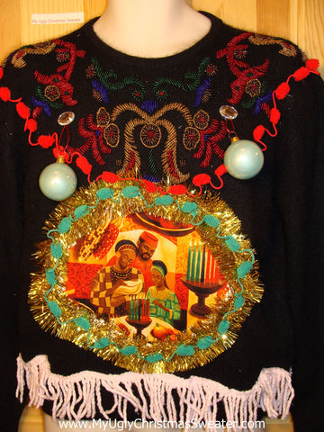 Ugly Christmas Sweater Party Holy Grail of Ugly Sweater Kwanzaa Kwanza with 3D Ornaments, Bling Accents, and Fringe (z10)
