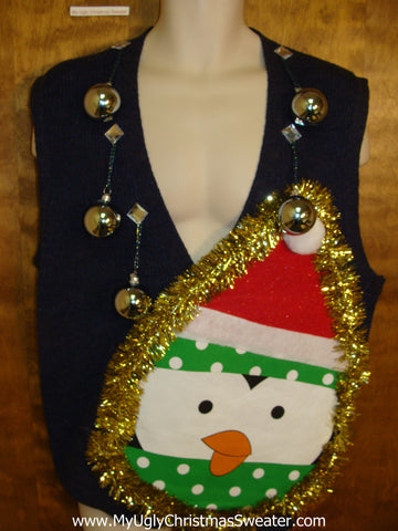 Mens Funny 3D Ugly Xmas Sweater Vest