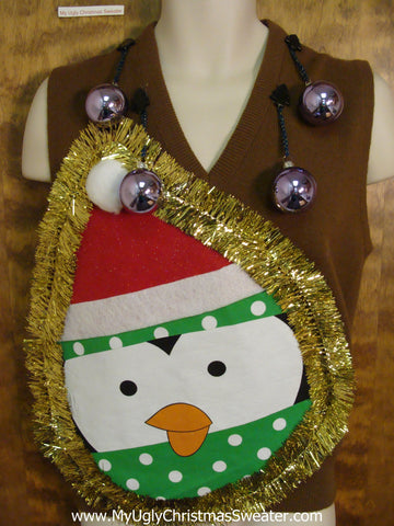 Mens Funny 3D Ugly Penguin Christmas Sweater Vest