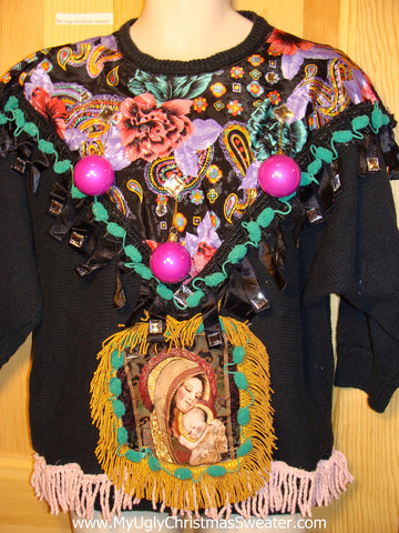 Ugly Christmas Sweater Party Holy Grail of Tacky 80s Sweater with 3D Ornaments and with  Mary and Baby Jesus Scene Framed with Fringe (z11)