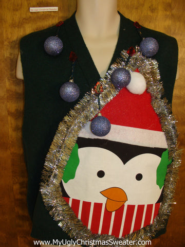 Mens Funny Penguin 3D Ugly Xmas Sweater Vest
