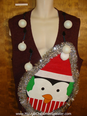 Mens Funny 3D Balls Ugly Xmas Sweater Penguin Vest