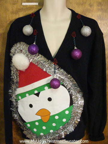 Mens Funny Penguin Ugly Xmas Sweater with 3D Balls
