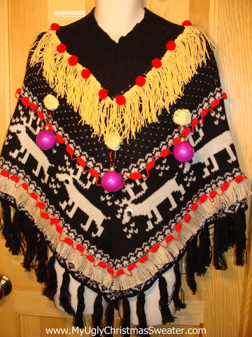 Ugly Christmas Sweater Party Holy Grail of Ugly Sweater Poncho with 3D Ornaments and Fringe. Nordic Pattern with Reindeer.  Great Sweater Alternative for Mens XL, XXL or Mens XXXL  (z14)