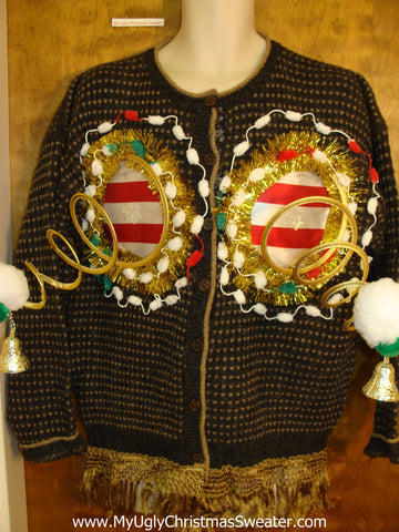 Mens Funny Naughty 3D Springy Boobs Ugly Xmas Sweater Cardigan