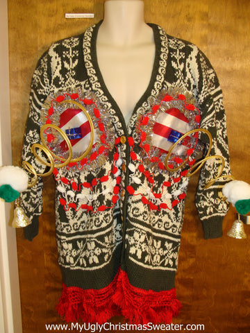 Funny Naughty 3D Springy Boobs Ugly Xmas Sweater Cardigan