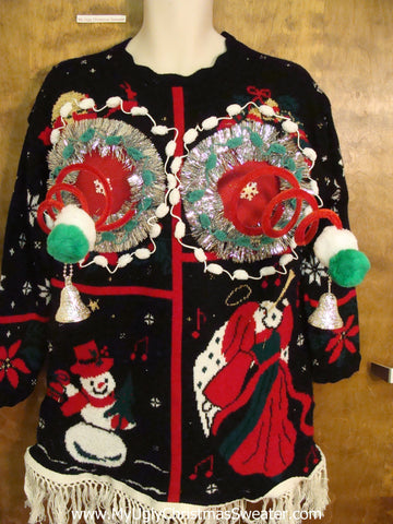 80s Funny 3D Ugly Xmas Sweater with Naughty Springy Boobs